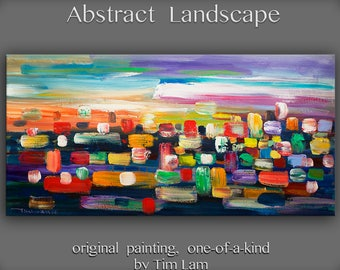 """Huge original Oil painting Modern deco Impasto Texture paint on canvas with wooden frame by Tim Lam 48"""" x 24"""""""