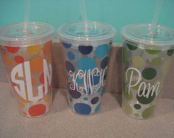Personalized tumblers 14 ounce acrylic with lid and straw~Personalized for FREE. Great for girls weekends, pool, gift, wedding, boat, party