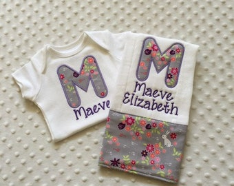Baby Girl Personalized 2 Piece Gift Set  - Bodysuit and Burp Cloth- Michael Miller Front Porch Fabrics