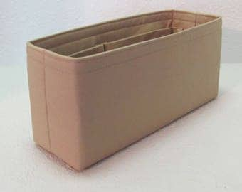 Ready to Ship .. Delightful PM 11L x 3.5D x 5T. ....Purse Insert ORGANIZER Purse Shaper ...Beige ..Strong and Durable (28C)