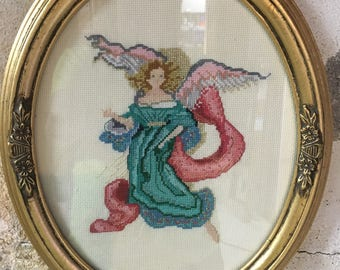 Vintage Angel Framed Counted Cross Stitch