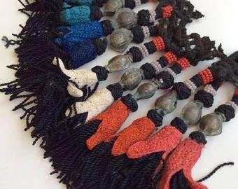 10 BEADED color tassels tribal ethnic nomad pashtun  silk road costuming