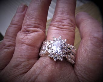 Deadstock Brilliant CZ Engagement Ring 925 Sterling 2kt. CZ Oval Center Stone Wider Band surround cz stones