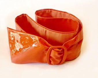 Orange Patent Sash Belt with Buckle