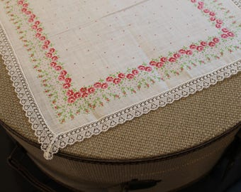 Vintage Handkerchief with Pink and Green Flowers and Lace Trim