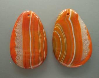 As Pictured- 2pcs -Large Orange Teardrop agate Pendant 35x55mm- #1025021