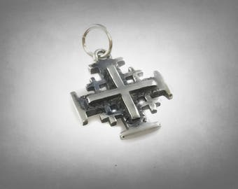 Sterling Silver Solid 925 Pendant Jerusalem Cross New
