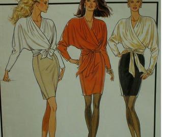 Wrap Top Pattern, Mini Pencil Skirt, V-neck, Batwing Sleeves, Waist Tie, Princess Seam Skirt, Style No. 1941 UNCUT Size 6 8 10 12 14 16