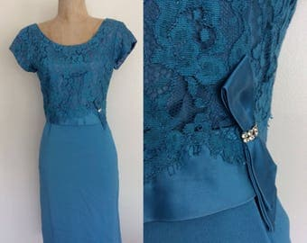 """1960's Lace & Crepe Wiggle Dress Turquoise Blue Cocktail Party Dress Size Small 26"""" Waist by Maeberry Vintage"""
