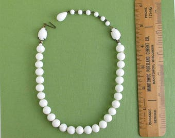White Glass Choker Necklace - Vintage Japan, Adjustable w/ Fish Hook Clasp