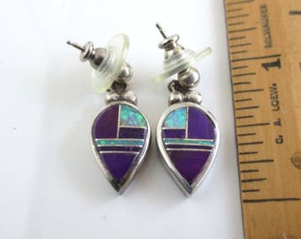 Native American Sterling Silver, Purple Stone & Opal Inlay Earrings - Vintage, Signed EH