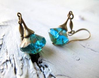 Deep Aqua Bohemian Earrings, Teal Blue Drop Earring, Long Boho Chic Dangle, Czech Glass Jewelry, Bohemian Bijoux, Boho hippie Chic