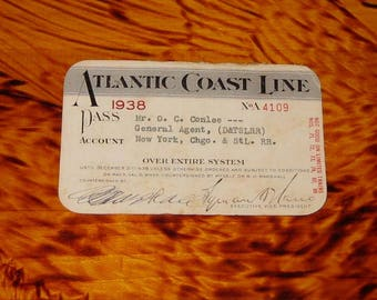 1938 Atlantic Coast Line Railroad Pass