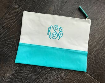 Monogram Cosmetic Bag - Teal Canvas Zipper Pouch - Personalized Travel Bag