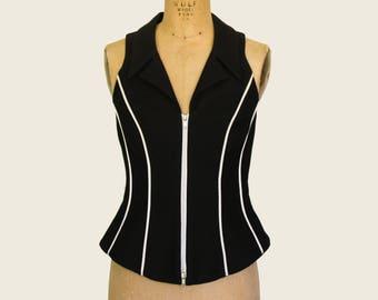 Black Moschery Zip Front Vest