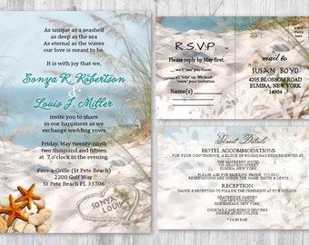 Beach Wedding Invitations, Seashell Wedding Invitation, Beach Themed  Invitation, Wedding Starfish Invitation Sand