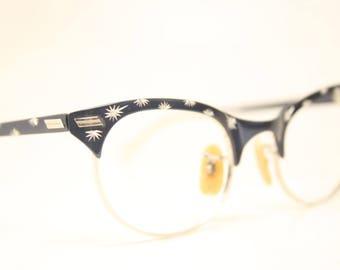 Small Unused Vintage Blue Cat Eye Glasses Aluminum NOS