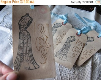 100 Cottage Chic Hang Tags - Corsets Sewing Black