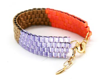 Beaded Bracelet in Orange, Bronze & Purple