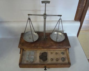 Antique scale with weights