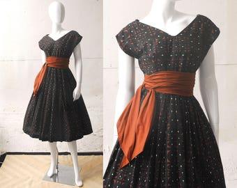 1950s Sash Dress / Cotton Dress / 50s