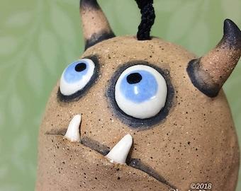 """Monster Bell """"Bobby""""- handmade ceramic windchime tentacles fun garden art gift"""