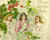 Trio of Angels on Faux Bois Birch Bark Antique Christmas Postcard Loving Christmas Wishes 1908