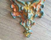 Vintage Stamped Brass Gothic Figural - Stamping Pendant - Homemade Verdigris Patina