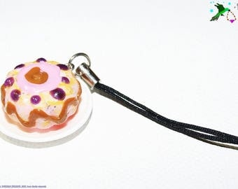 Laptop jewelry, bag: cake on plate fimo, girly. Polymer clay Multicolored
