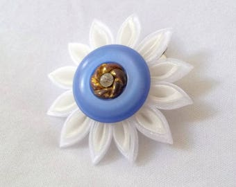 Cute Flower Hair Clip White and Ivory Kanzashi Organza Barrette Periwinkle