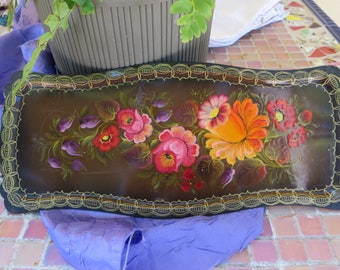 Painted Metal Tray Floral Tray Long Rectangle Shaped Orange Yellow Red Purple Flowers Painted on Metal or Tin Tray Dresser Trinket Tray