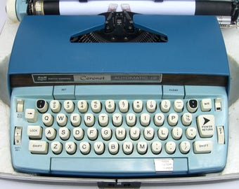 Vintage Smith Corona Portable Electric Typewriter, Coronet Automatic, Blue, Manual and Original Paperwork