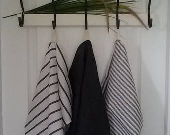 Linen Tea towels, Gray, Striped, Natural, Kitchen towels, Farmhouse decor, Set of 3 stone washed