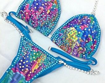 Blue Bombshell competition bikini