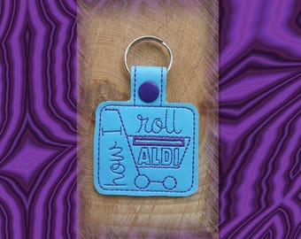 Aldi Quarter Keeper Embroidered Key Fob, Key Chain, I love Aldi, Vinyl, Key Ring, Purse Charm, Quarter Holder
