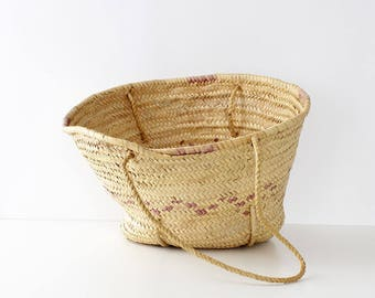 Vintage Straw Bag • Round Straw Bag • Straw Shoulder Bag • Straw Market Bag • Vintage Straw Purse • Round Straw Tote  | B892
