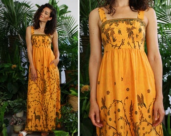 Vintage Lanz Dress XS • 70s Maxi Dress • Batik Maxi Dress • Summer Cotton Dress • Vintage Summer Dress • Empire Waist Dress | D1322