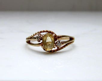 Vintage 10k Solid Yellow Gold Citrine and Diamond Accent Ring, Size 7