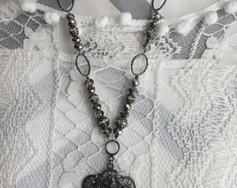 Beaded necklace-necklaces-long necklaces-rhinestone pendant-pendants-silver beads-wedding jewelry-hand made