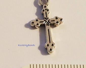 Double-Sided Cross 21x11mm Pkg 30,Rosary,Rosary Cross,Rosary Supplies,Rosary Parts,Catholic Rosary,Rosary Supply
