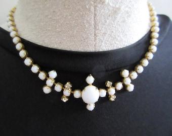 white milk glass choker necklace, gold tone setting, rhinestones prong set, wedding bridal, prom, vintage retro. mid century