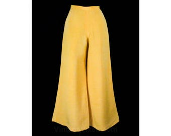 Size 8 Yellow Pants - 1970s Haute Quality Trousers - Early 70s Tailored Crepe - Stage Worthy Bell Bottoms - Made in Italy - Waist 27 - 49008