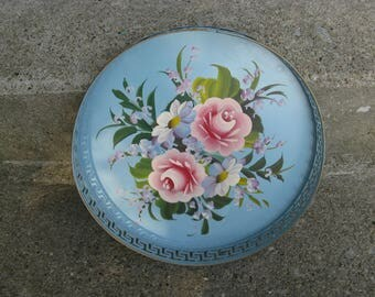 aqua blue hand painted toleware tray pink roses reticulated sides shabby cottage gift idea