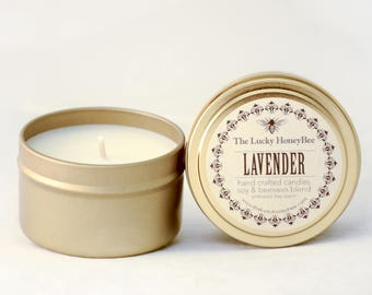 Lavender || 6 oz Scented Candle || Soy + Beeswax Blend Candle in Gold Tin