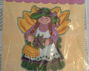 May Angel Plastic Canvas Kit, NIP Craftways Wall Hanging