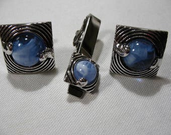 Vintage SWANK Cufflink and Tie Clip with Blue Glass Cabochon