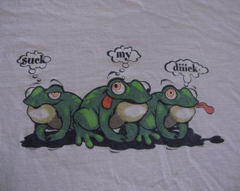 Vintage 90's Suck My Diiick Frogs Grunge Beer party punk rock T Shirt Adult Size M