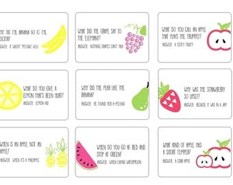 Lunch Box Love Notes Back to School Tags Fruity Jokes
