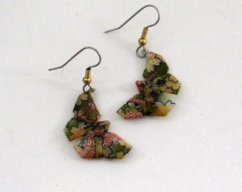 origami pink and green butterfly drop earrings