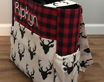 Personalized Diaper Bag made with Red Plaid and Hello Bear Buck Night deer fabric with monogram tote for baby